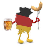 Germany map with arms, legs and glass mug of beer and wurstel on Stock Image