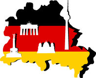 Germany Map and Berlin. Architecture Royalty Free Stock Photography
