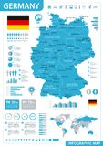 Germany Map - Blue Infographic - Highly detailed vector illustration. Germany Map - Blue Infographic - detailed vector illustration vector illustration