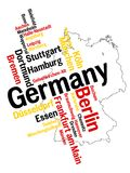 Germany map and cities. Germany map and words cloud with larger cities royalty free illustration