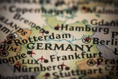 Germany on map. Closeup of Germany on a world map royalty free stock image