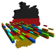 Germany map with containers Royalty Free Stock Photos