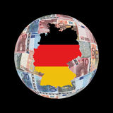 Germany map on euros globe Royalty Free Stock Photo