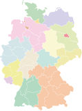 Germany map - federal states and regions. A political map of Austria showing the different regions (based on NUTS level 2) and federal states Stock Photo