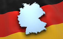 Germany map and flag Stock Photos