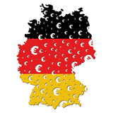 Germany map flag euro grunge. Germany map flag with euro symbol grunge effect illustration Royalty Free Stock Photos