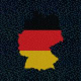 Germany map flag on hex code illustration. Retro 8 bit pixellated Germany map flag on hex code illustration Stock Photos