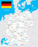 Germany map, flag, roads - illustration. Stock Photos