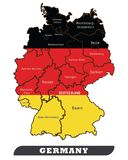 Germany map and Germany Flag vector illustration