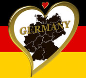 Germany map in a heart. On the background of the flag Stock Photo