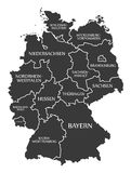 Germany Map labelled black. Germany Map with details labelled black Royalty Free Stock Photography
