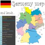 Germany map and lands Royalty Free Stock Image