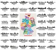 Germany map with largest cities skylines silhouettes vector set. Germany map with largest cities skylines silhouettes vector collection royalty free illustration