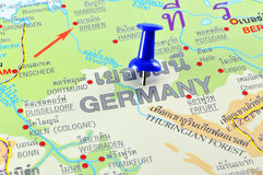 Germany map. Macro shot of germany map with push pin royalty free stock photo