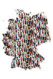 Germany map multicultural group of people integration immigration diversity. Isolated stock images