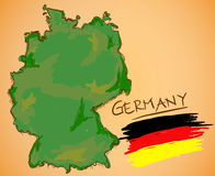 Germany Map and National Flag Vector Stock Photography