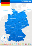 Germany map and navigation icons - Illustration. Royalty Free Stock Images