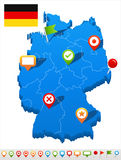 Germany map and navigation icons - Illustration. Royalty Free Stock Photo