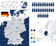 Germany Map and it's states Stock Photo