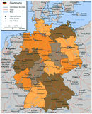 Germany map with selectable territories. Vector Royalty Free Stock Photos
