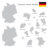Germany map with separated federal state silhouettes Stock Images