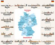 Germany map with state capitals cities skylines vector illustration. All layers are labelled, editable and well organized. Germany map with state capitals cities stock illustration