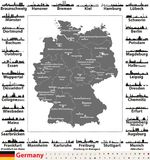 Germany map with state capitals and largest cities skylines silhouettes. Germany map with state capitals and largest cities skylines Stock Image