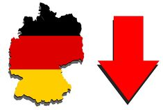 Germany map on white background and red arrow down Royalty Free Stock Photography