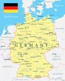 Germany Map - Yellow - Highly detailed vector illustration. Germany Map - Yellow - detailed vector illustration stock illustration