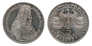 Germany 5 mark silver coin Margrave of Baden 1955 stock images