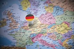 Germany marked with a flag on the map.  stock photos