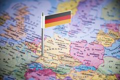 Germany marked with a flag on the map.  royalty free stock photo
