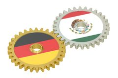 Germany and Mexico flags on a gears, 3D rendering Royalty Free Stock Image