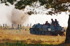 Germany military  vehicle  in fighting Royalty Free Stock Photography