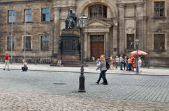 germany Monument Friedrich August i Dresden 16 Juni 2016 Royaltyfri Bild