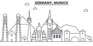 Germany, Munich architecture line skyline illustration. Linear vector cityscape with famous landmarks, city sights stock illustration