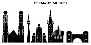 Germany, Munich architecture vector city skyline. Germany, Munich architecture vector city skyline, black cityscape with landmarks, isolated sights on Royalty Free Stock Images