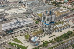 Aerial view of BMW factory and museum in Munich royalty free stock photos
