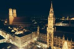 Marienplatz christmas night royalty free stock photo