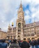 Germany, Munich - MAR 12 : New Town Hall. Mariinsky column on March 12, 2012 in Munich Stock Photos