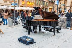 Germany, Munich. Pianist at Marienplatz Stock Photography