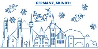 Germany, Munich winter city skyline. Merry Christmas, Happy New Year. Decorated banner with Santa Claus.Winter greeting line card.Flat, outline vector. Linear Royalty Free Stock Photography