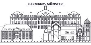 Germany, Munster line skyline vector illustration. Germany, Munster linear cityscape with famous landmarks, city sights. Vector design landscape Royalty Free Stock Photography