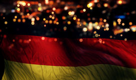 Germany National Flag Light Night Bokeh Abstract Background Royalty Free Stock Image
