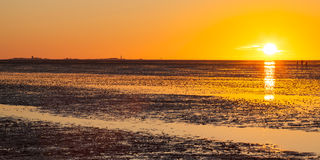 Germany, National park, Low tide at sunset Royalty Free Stock Photos