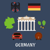 Germany national and travel flat icons Royalty Free Stock Photos