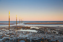 Germany, North Sea, beach front with stilts, tideways Royalty Free Stock Images