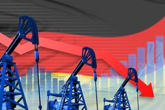 Lowering, falling graph on Germany flag background - industrial illustration of Germany oil industry or market concept. 3D Illustr. Germany oil industry concept stock illustration