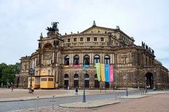 germany Operahuset i den Dresden Semper operahuset på teaterfyrkanten i Dresden 16 Juni 2016 Arkivfoton