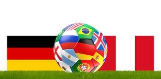 Germany Peru soccer football ball 3D Illustration. Design Royalty Free Stock Photography